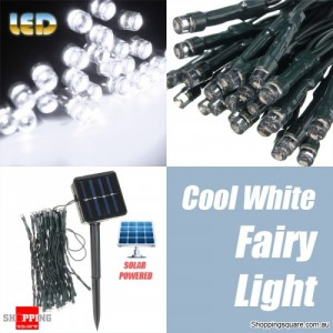 50 LED 5.2M Solar Powered String Fairy Light Lamp for Garden Path Chirstmas Outdoor Cool White Colour