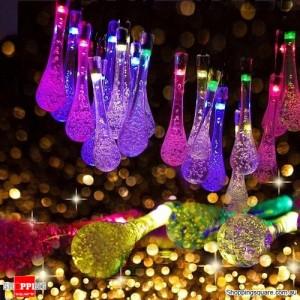 30 LED Solar Power Water Drop Fairy String Light for Outdoor Garden Xmas Party Decor Blue Colour