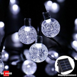 30 LED Bubble Beads Solar String Fairy Lamp Lights for Outdoor Garden Xmas Wedding Party Cool White