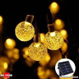30 LED Bubble Beads Solar String Fairy Lamp Lights for Outdoor Garden Xmas Wedding Party Warm White Colour