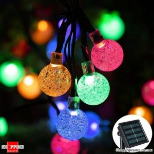 30 LED Bubble Beads Solar String Fairy Lamp Lights for Outdoor Garden Xmas Wedding Party Multicoloured