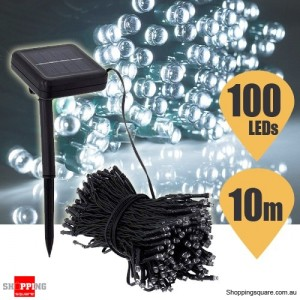 100 LED Solar Powered String Light for Outdoor Party Christmas Wedding Cool White Colour