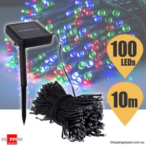 100 LED Solar Powered String Light for Outdoor Party Christmas Wedding Multicoloured