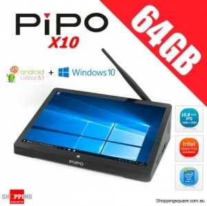 PiPO X10 64GB All In One PC TV Box Tablet 10.8 inch Dual OS Windows 10 + Android 5.1 Bluetooth 4.0 HDMI