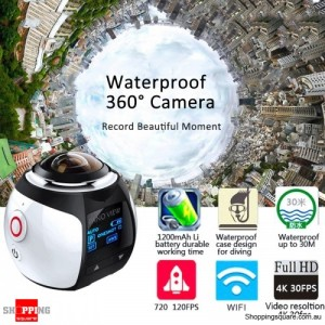 4K HD 360 Degree Panoramic Wifi Camera 2448x2448 for Sport Driving White Colour