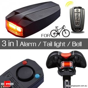 3 in 1 Wireless Remote Control Bicycle Rear Light COB Alarm Bell Lock for Cycling