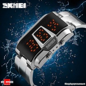 SKMEI 1179 Men's Waterproof LED Sport Casual Electronic Digital Watch with Steel Strip Silver Colour