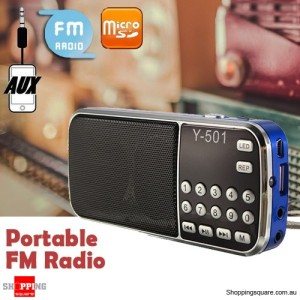 Y-501 Portable Mini LCD Electronic FM Radio Speaker Mp3 Music Player Supported USB Disk TF AUX Blue Colour