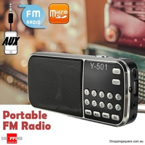 Y-501 Portable Mini LCD Electronic FM Radio Speaker Mp3 Music Player Supported USB Disk TF AUX Black Colour