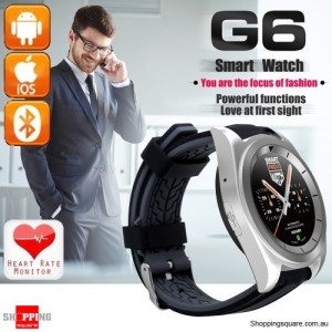 G6 MT2502 380mAh Bluetooth 4.0 240 x 240 Smart Watch supported Heart Rate Silver Colour