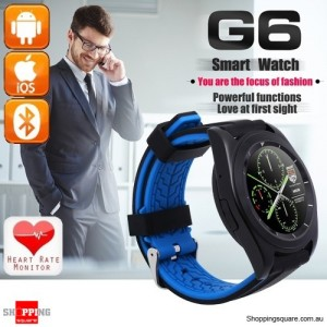 G6 MT2502 380mAh Bluetooth 4.0 240 x 240 Smart Watch supported Heart Rate  Black Colour