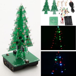 3D 3 Colours LED Christmas Tree Flash Kit Electronic Learning Kit DIY for Decoration