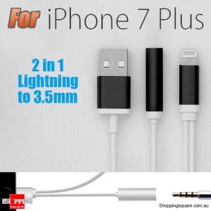 8Pin to 3.5mm Earphones Headphone Jack Audio Adapter USB Charging Cable for iPhone 7 / 7 Plus Black Colour