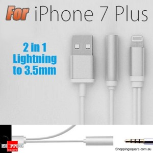 8Pin to 3.5mm Earphones Headphone Jack Audio Adapter USB Charging Cable for iPhone 7 / 7 Plus Silver Colour