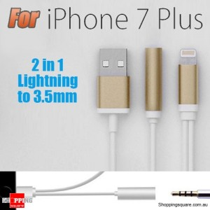 8Pin to 3.5mm Earphones Headphone Jack Audio Adapter USB Charging Cable for iPhone 7 / 7 Plus Gold Colour