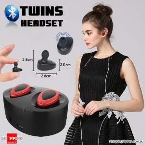 Bluetooth Earpods with Charging Dock - suitable for iPhone, Android and Windows Phone - Red/Black