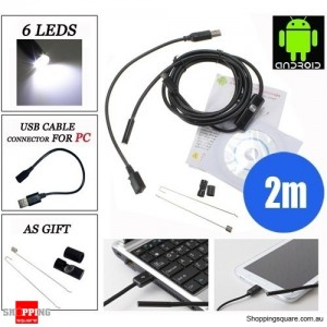2M 6 LED 7mm Lens IP67 USB Android Endoscope Borescope Waterproof Tube Snake Camera for Android Phone and PC