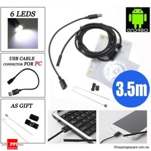 3.5M 6 LED 7mm Lens IP67 USB Android Endoscope Borescope Waterproof Tube Snake Camera for Android Phone and PC