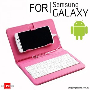 Universal Wired Keyboard Flip Holster Case for Android Samsung Phone 4.2 to 6.8 inch Rose Red Colour
