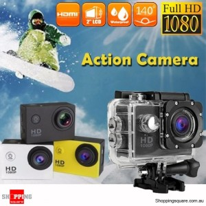 HD 1080P Waterproof Sports Action Video Camera DV with 2 Inch LCD  Black Colour