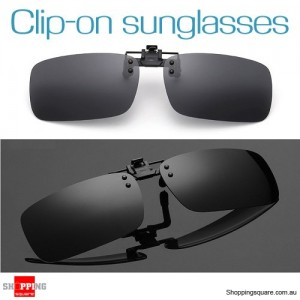 Mens Womens Polarized Flap Up Clip-on Mirror Sunglasses with UV 400 Protection Black Colour