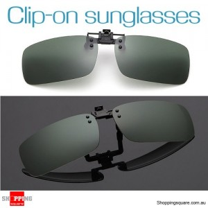Mens Womens Polarized Flap Up Clip-on Mirror Sunglasses with UV 400 Protection Dark Green Colour