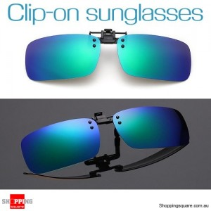 Mens Womens Polarized Flap Up Clip-on Mirror Sunglasses with UV 400 Protection Bluish Green Colour