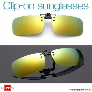Mens Womens Polarized Flap Up Clip-on Mirror Sunglasses with UV 400 Protection Yellowish Green Colour