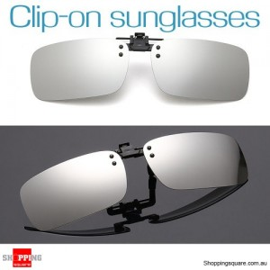 Mens Womens Polarized Flap Up Clip-on Mirror Sunglasses with UV 400 Protection Silver Colour