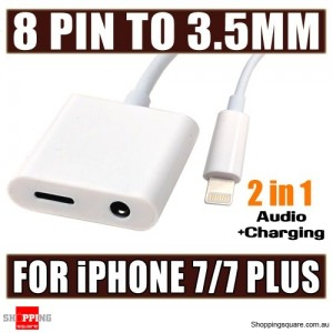 2 in 1 8-Pin to 3.5mm Headphone Audio + Charging Cable Adapter for iPhone 7 / 7 Plus