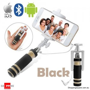 Bluetooth Wired Mini Monopod Telescopic Selfie Stick Remote Holder for iPhone Android Black Colour