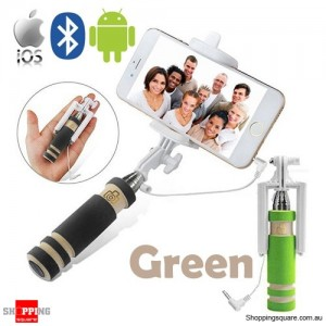 Bluetooth Wired Mini Monopod Telescopic Selfie Stick Remote Holder for iPhone Android Green Colour