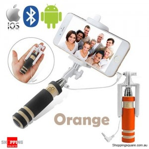 Bluetooth Wired Mini Monopod Telescopic Selfie Stick Remote Holder for iPhone Android Orange Colour