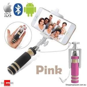 Bluetooth Wired Mini Monopod Telescopic Selfie Stick Remote Holder for iPhone Android Pink Colour