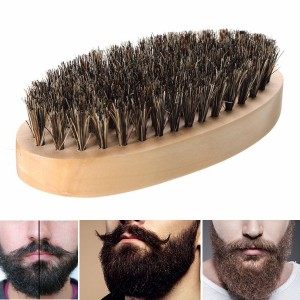 Thick Boar Bristle Beard Taming Wooden Palm Brushing Brush
