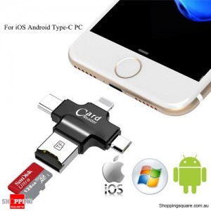 4 In 1 TF MicroSD Card Reader Type-C USB for iPhone Android Samsung PC Black Colour