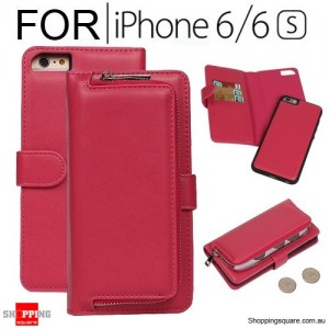 Magnetic Leather Removable Zipper Wallet Card Flip Case Cover for iPhone 6 / 6S Rose Colour