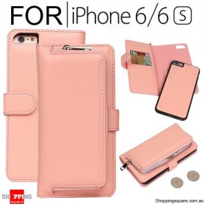 Magnetic Leather Removable Zipper Wallet Card Flip Case Cover for iPhone 6 / 6S Pink Colour