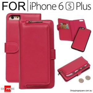 Magnetic Leather Removable Zipper Wallet Card Flip Case Cover for iPhone 6 Plus / 6S Plus Rose Colour