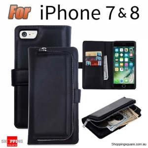 Magnetic Leather Removable Zipper Wallet Card Flip Case Cover for iPhone 7 & 8 Black Colour