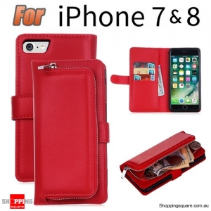 Magnetic Leather Removable Zipper Wallet Card Flip Case Cover for iPhone 7 Red Colour