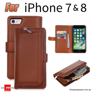 Magnetic Leather Removable Zipper Wallet Card Flip Case Cover for iPhone 7 Brown Colour
