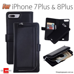 Magnetic Leather Removable Zipper Wallet Card Flip Case Cover for iPhone 7 Plus Black Colour