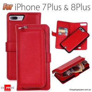 Magnetic Leather Removable Zipper Wallet Card Flip Case Cover for iPhone 7 Plus Red Colour