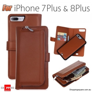 Magnetic Leather Removable Zipper Wallet Card Flip Case Cover for iPhone 7 Plus Brown Colour