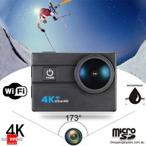 4K Ultra HD WiFi Sports Action Camera with 30m Waterproof Wide Lens 2inch LCD Screen Black Colour