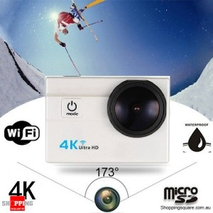 4K Ultra HD WiFi Sports Action Camera with 30m Waterproof Wide Lens 2inch LCD Screen White Colour