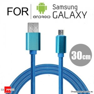 30cm Nylon Braided Micro USB Charging Cable Cord for Samsung Galaxy Note LG Android HTC Blue Colour