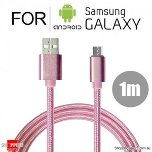 1m Nylon Braided Micro USB Charging Cable Cord for Samsung Galaxy Note LG Android HTC Pink Colour