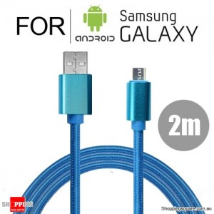 2m Nylon Braided Micro USB Charging Cable Cord for Samsung Galaxy Note LG Android HTC Blue Colour
